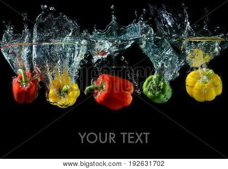 Splash Water With Droping Bell Peppers