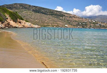 Chrissi Ammos beach in Andros island Cyclades Greece