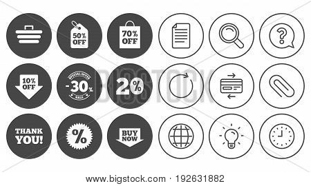 Sale discounts icon. Shopping cart, coupon and buy now signs. 20, 30 and 50 percent off. Special offer symbols. Document, Globe and Clock line signs. Lamp, Magnifier and Paper clip icons. Vector
