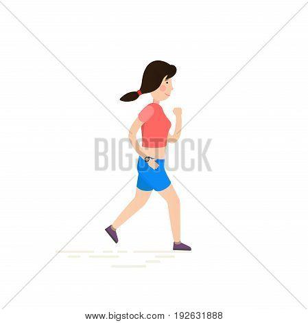 Woman running, jogging. Flat vector illustration with cartoon girl.