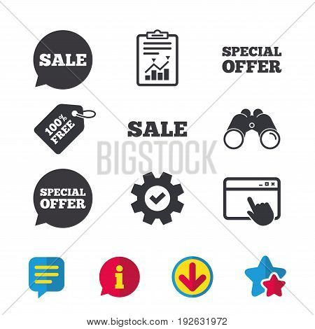 Sale icons. Special offer speech bubbles symbols. Shopping signs. Browser window, Report and Service signs. Binoculars, Information and Download icons. Stars and Chat. Vector