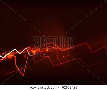 Neon orange lightning background template