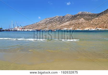 landscape of Kamares beach at Sifnos island Cyclades Greece
