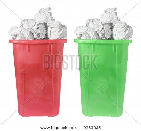 Plastic Waste Paper Bins on White Background poster