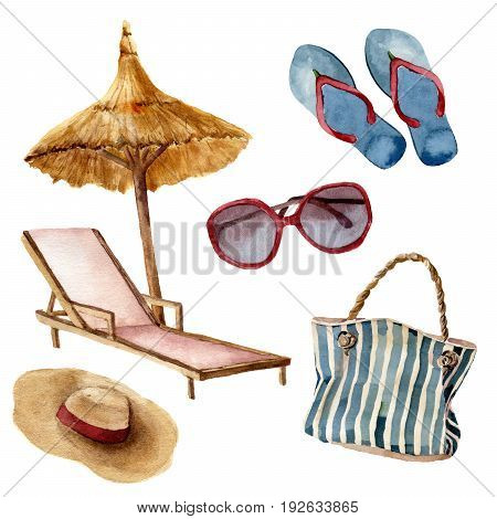 Watercolor summer beach set. Hand painted summer vacation objects: sunglasses, beach umbrella, beach chair, straw hat, beach bag and flip-flops. Tropical illustration isolated on white background