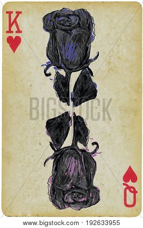 Black rose on a playing card - an hand drawn vector. Line art technique colored.