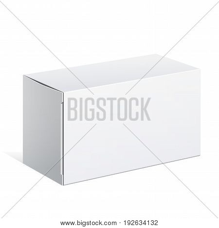 Realistic White Package carton Box. For other products. Vector illustration. Template For Mockup Your Design.