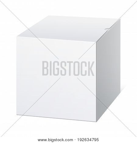 Realistic Package Cardboard Box. Cube shape. Vector illustration