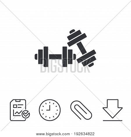 Dumbbells sign icon. Fitness sport symbol. Gym workout equipment. Report, Time and Download line signs. Paper Clip linear icon. Vector