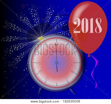 A 2018 midnight clock with balloon and firework explosion.