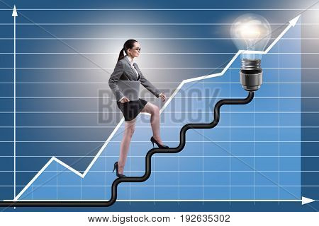Businesswoman climbing career ladder towards light bulb