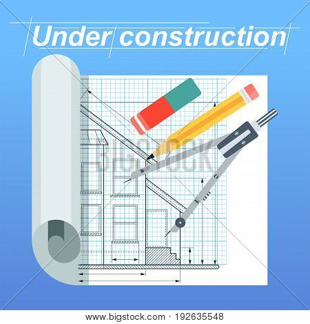 Under Construction Blue Poster