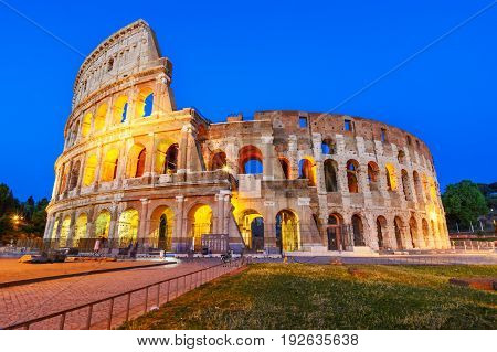 Night View Of The Colosseum Or Coliseum, The Flavian Amphitheatr