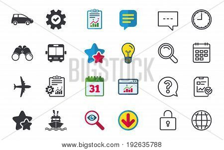 Transport icons. Car, Airplane, Public bus and Ship signs. Shipping delivery symbol. Air mail delivery sign. Chat, Report and Calendar signs. Stars, Statistics and Download icons. Vector