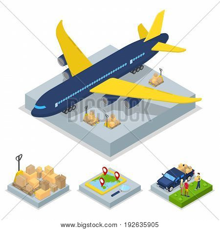 Isometric Delivery Concept. Air Cargo Plane Freight Transportation. Vector flat 3d illustration
