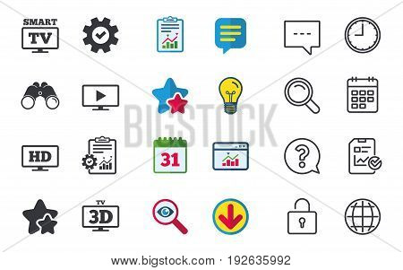 Smart TV mode icon. Widescreen symbol. High-definition resolution. 3D Television sign. Chat, Report and Calendar signs. Stars, Statistics and Download icons. Question, Clock and Globe. Vector