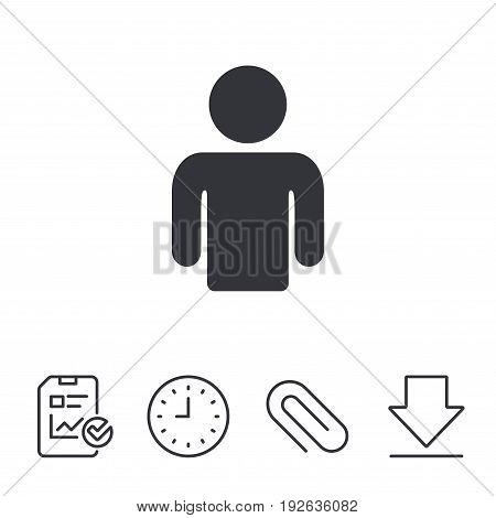 User sign icon. Person symbol. Human avatar. Report, Time and Download line signs. Paper Clip linear icon. Vector