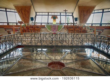 CAPERNAUM, ISRAEL - AUGUST 30, 2015 : Interior of the modern church was built over the ruins of Peter's house in Capernaum, Israel