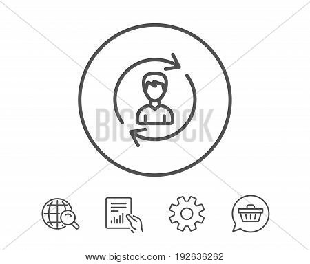 Human Resources line icon. User Profile sign. Male Person silhouette symbol. Refresh or Update sign. Hold Report, Service and Global search line signs. Shopping cart icon. Editable stroke. Vector