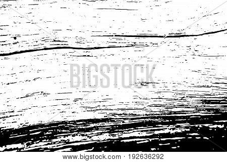 Natural wood board monochrome vector texture. Obsolete texture of timber board. Distressed overlay for vintage effect. Grit overlay with weathered lumber. Old wooden surface with cracks. Tree board