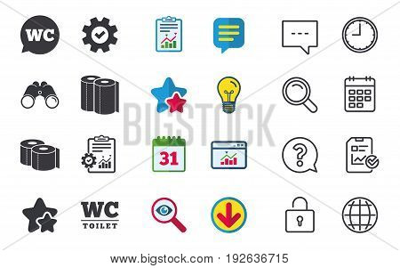 Toilet paper icons. Gents and ladies room signs. Paper towel or kitchen roll. Speech bubble symbol. Chat, Report and Calendar signs. Stars, Statistics and Download icons. Question, Clock and Globe