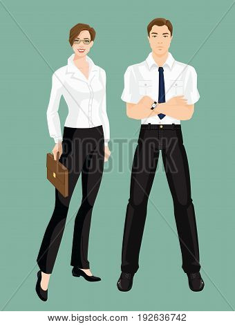 Vector illustration of corporate dress code. Group of business people. Professional man and woman in formal clothes isolated on color background.