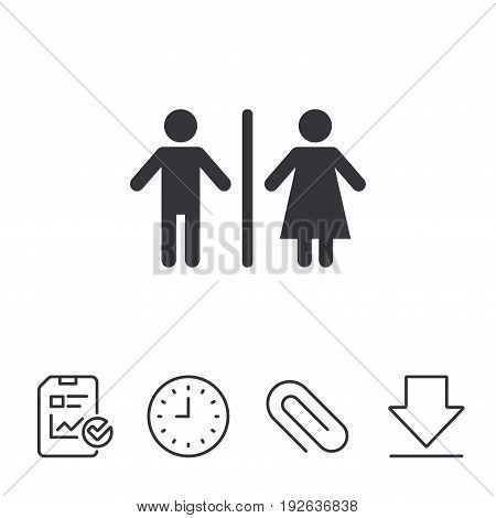 WC sign icon. Toilet symbol. Male and Female toilet. Report, Time and Download line signs. Paper Clip linear icon. Vector