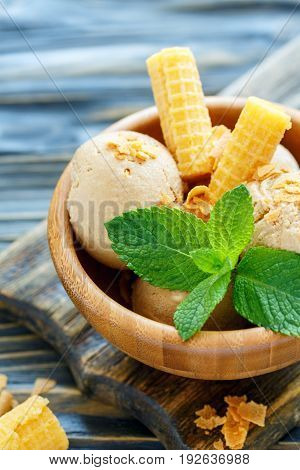 Homemade Caramel Ice Cream And Mint.