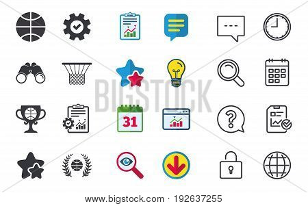 Basketball sport icons. Ball with basket and award cup signs. Laurel wreath symbol. Chat, Report and Calendar signs. Stars, Statistics and Download icons. Question, Clock and Globe. Vector