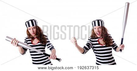 Convict criminal in striped uniform
