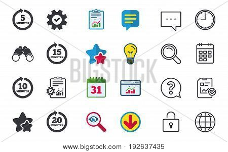 Every 5, 10, 15 and 20 minutes icons. Full rotation arrow symbols. Iterative process signs. Chat, Report and Calendar signs. Stars, Statistics and Download icons. Question, Clock and Globe. Vector