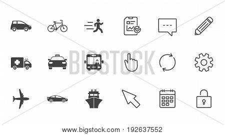 Transport icons. Car, bike, bus and taxi signs. Shipping delivery, ambulance symbols. Chat, Report and Calendar line signs. Service, Pencil and Locker icons. Click, Rotation and Cursor. Vector