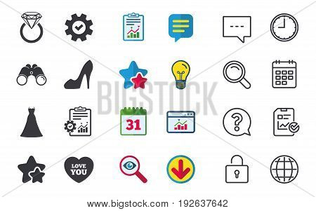 Wedding dress icon. Women's shoe and love heart symbols. Wedding or engagement day ring with diamond sign. Chat, Report and Calendar signs. Stars, Statistics and Download icons. Vector