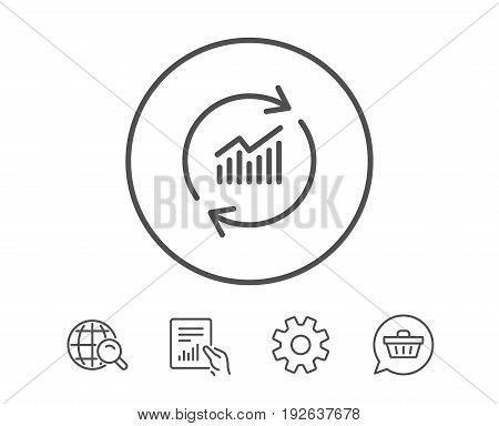 Chart line icon. Update Report graph or Sales growth sign. Analysis and Statistics data symbol. Hold Report, Service and Global search line signs. Shopping cart icon. Editable stroke. Vector
