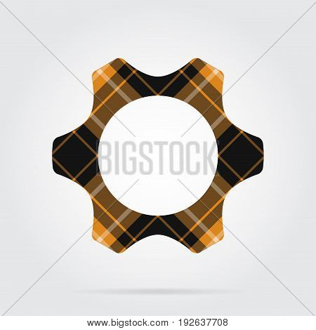 orange black isolated tartan icon with white stripes - cogwheel and shadow in front of a gray background