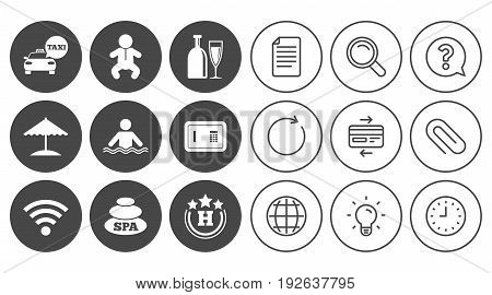 Hotel, apartment service icons. Spa, swimming pool signs. Alcohol drinks, wifi internet and safe symbols. Document, Globe and Clock line signs. Lamp, Magnifier and Paper clip icons. Vector