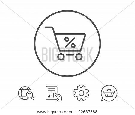 Shopping cart with Percentage line icon. Online buying sign. Supermarket basket symbol. Hold Report, Service and Global search line signs. Shopping cart icon. Editable stroke. Vector
