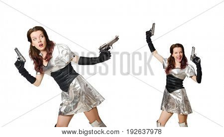 Woman in tech concept isolated on white