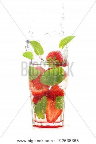 Strawberry Mojito Isolated On White
