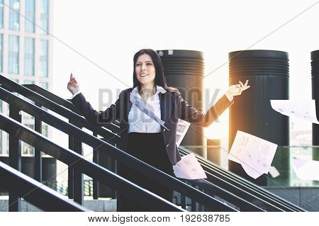 Time For Brake. Portrait Of Attractive And Full Of Energy Business Woman In Smart Casual Clothes Thr