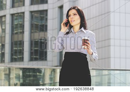Time For Business Talk. Portrait Of Confident And Beautiful Business Woman In Smart Casual Wear Talk