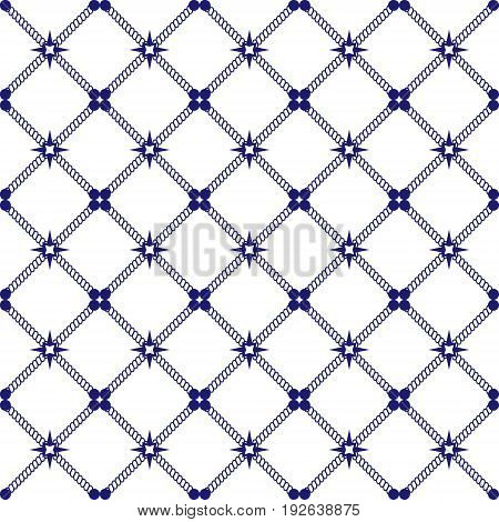 Marine style seamless background made of ropes. Endless backdrop pattern fills textile decorative paper. EPS 10 vector.