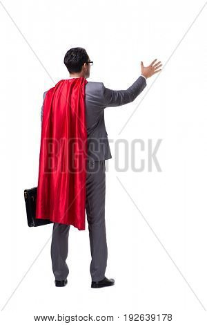 Superhero businessman isolated on white background
