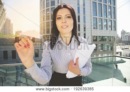Take Me Away From Office. Portrait Of Gorgeous Young Business Woman In Smart Casual Wear Launching P