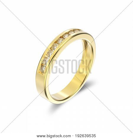 3D illustration yellow gold ring with diamonds with shadow on a white background