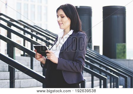 Time For Chat. Portrait Of Beautiful Confident Business Woman In Smart Casual Wear Using Tablet Or P