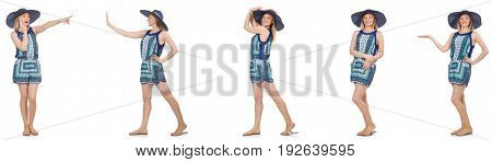 Collage of woman with hat isolated on white
