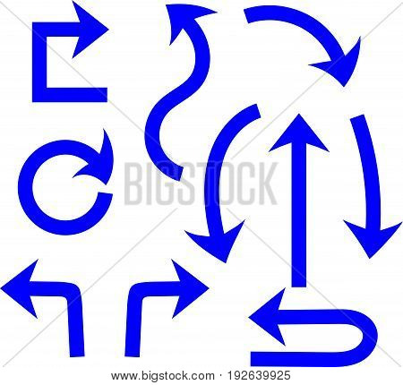 A set of arrows. Blue arrows, white background. vector
