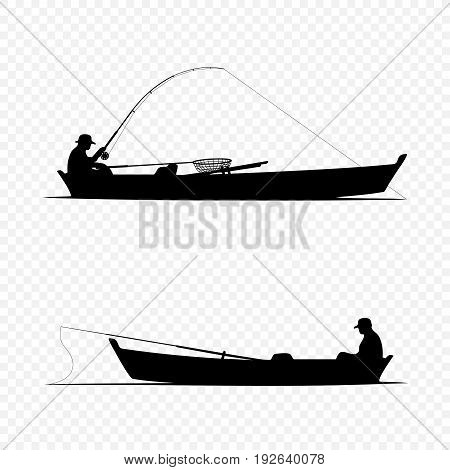 Fisherman on boat black silhouette set collection on transparent background, Fisher wait and caught fish