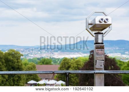 Tourist Paid Binoculars Overlooking City Landscape Blurred Depth of Field Isolated Nature